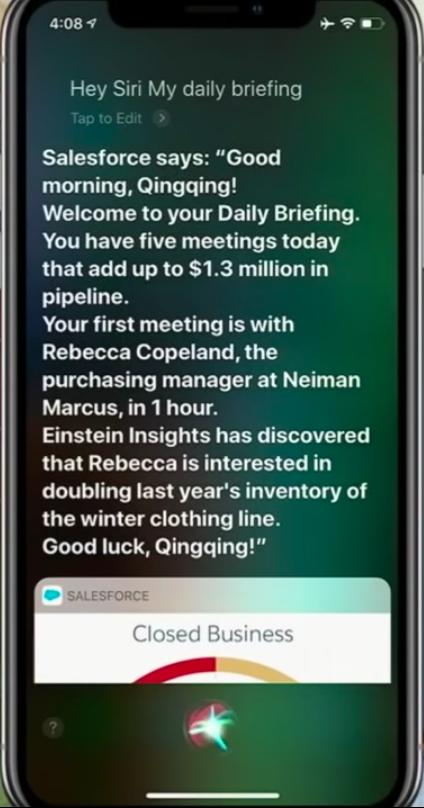 Salesforce Einstein Voice daily briefing